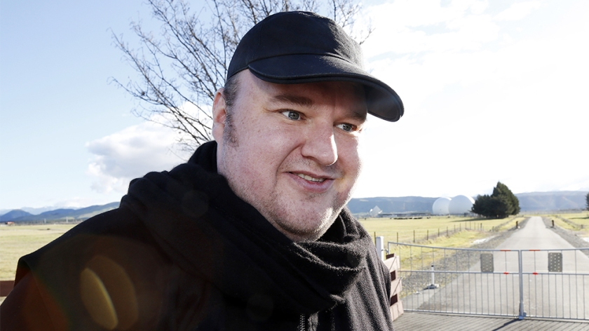 Kim Dotcom at Waihopai GCSB Spy Base, Blenheim, New Zealand - 06 Aug 2014